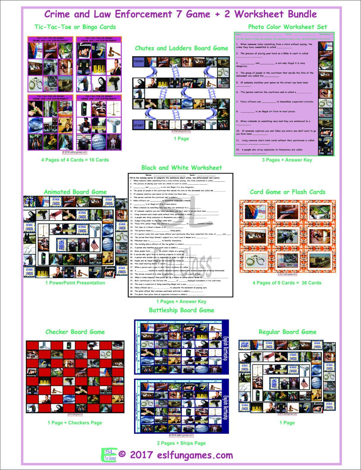 Crime And Law Enforcement 7 Game Plus 2 Worksheet Bundle