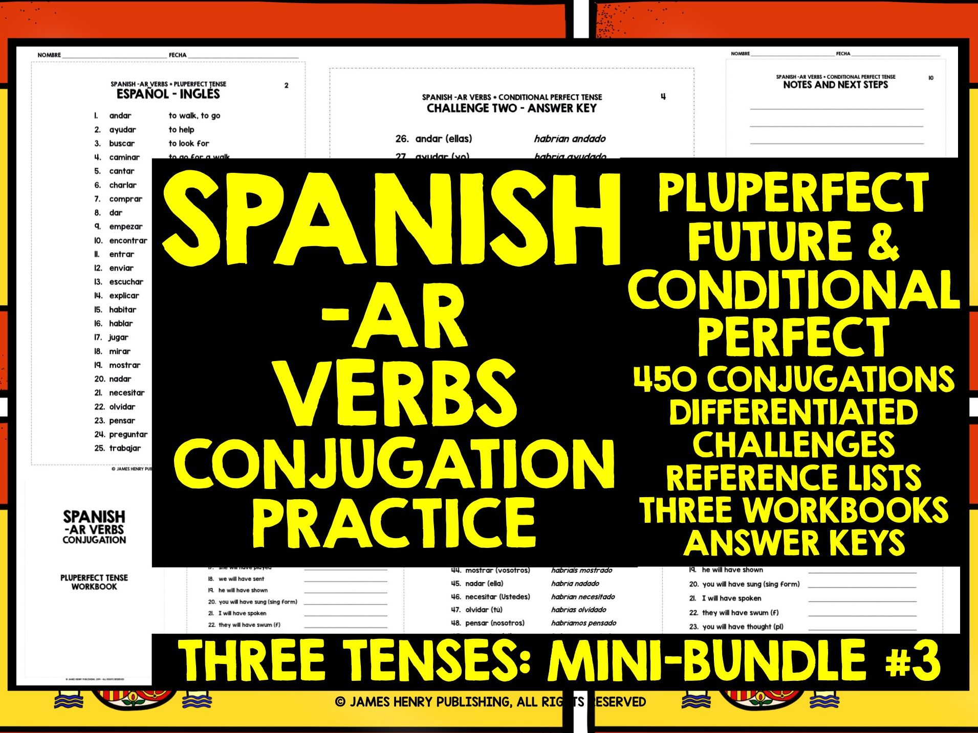 Spanish Ar Verbs Conjugation Mini Bundle 3