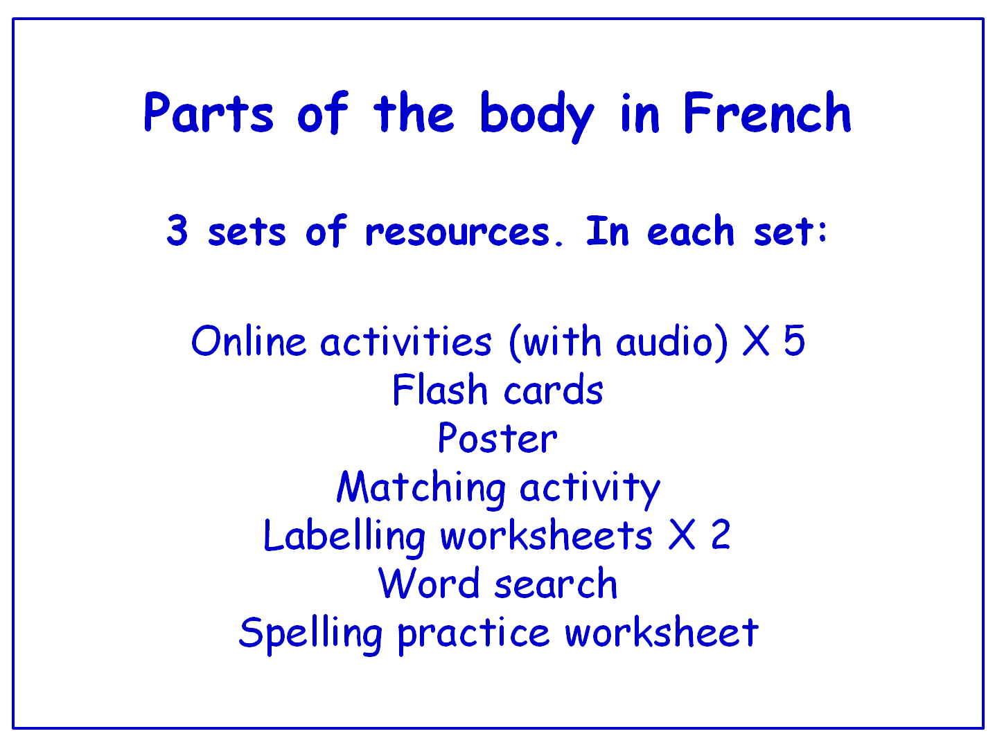 Parts Of The Body In French Worksheets Games Activities