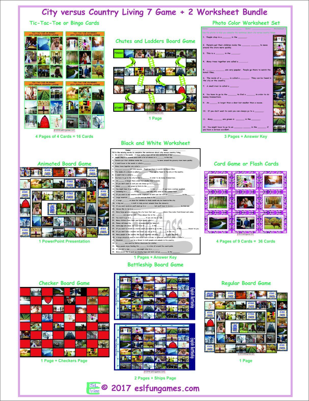 City Versus Country Living 7 Game Plus 2 Worksheet Bundle