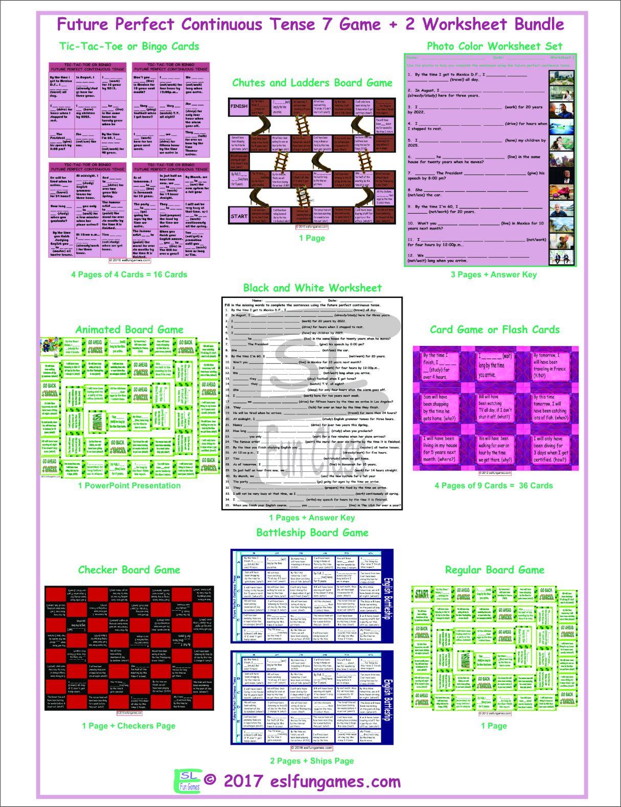 Future Perfect Continuous Tense 7 Game Plus 2 Worksheet