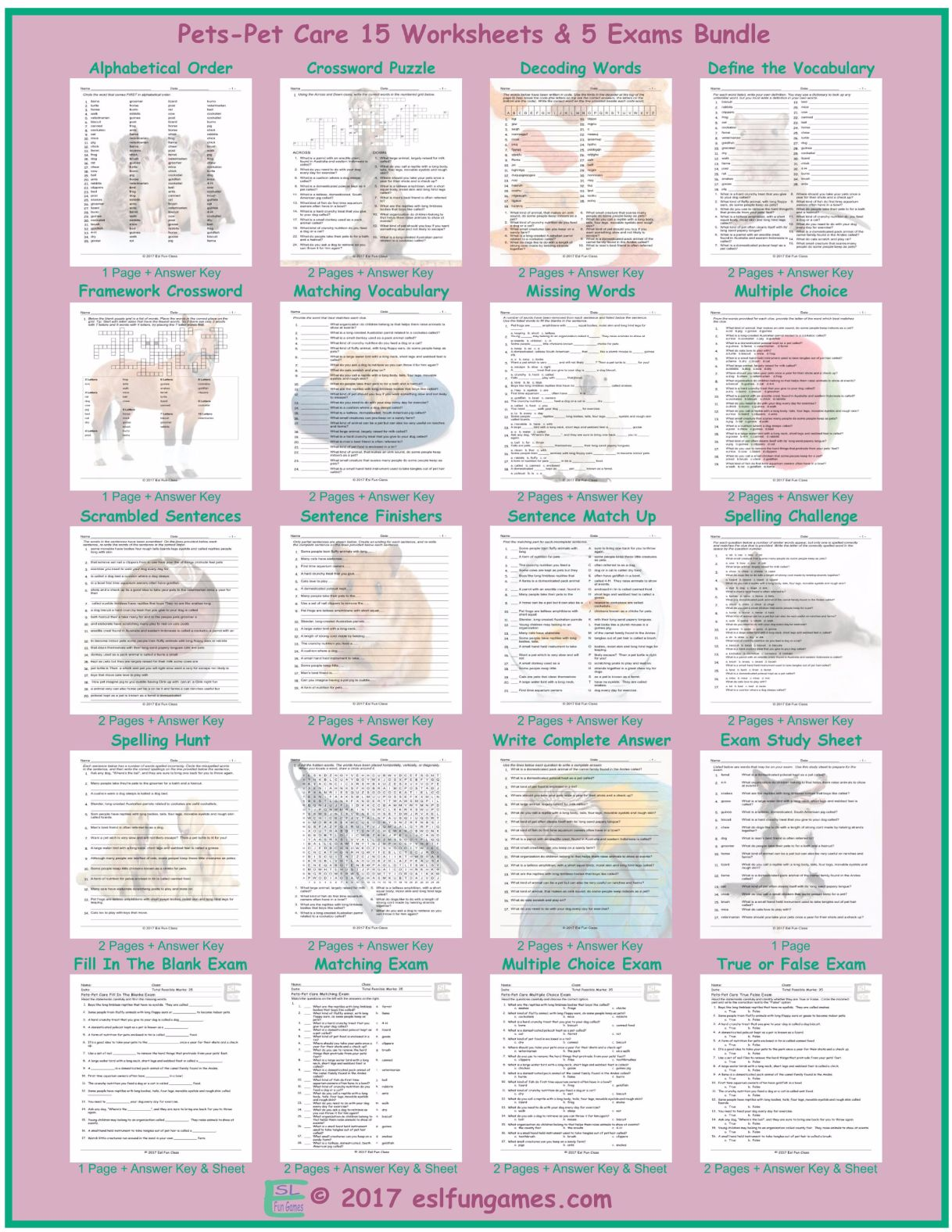 Pets Pet Care 20 Worksheet And Exam Bundle By Eslfungames