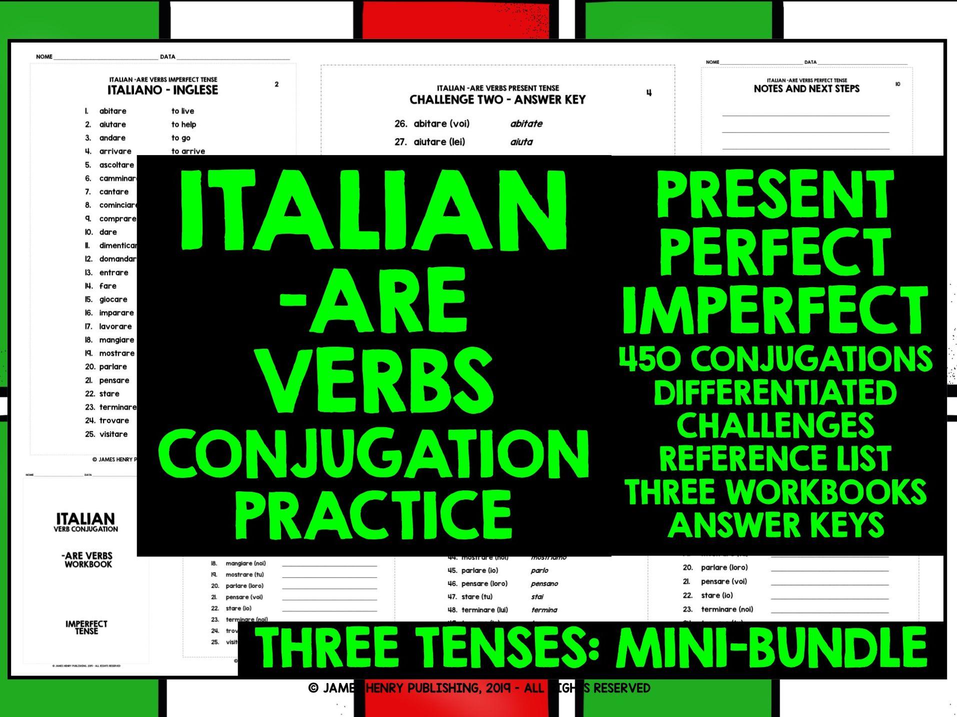Italian Are Verbs Conjugation Mini Bundle 1