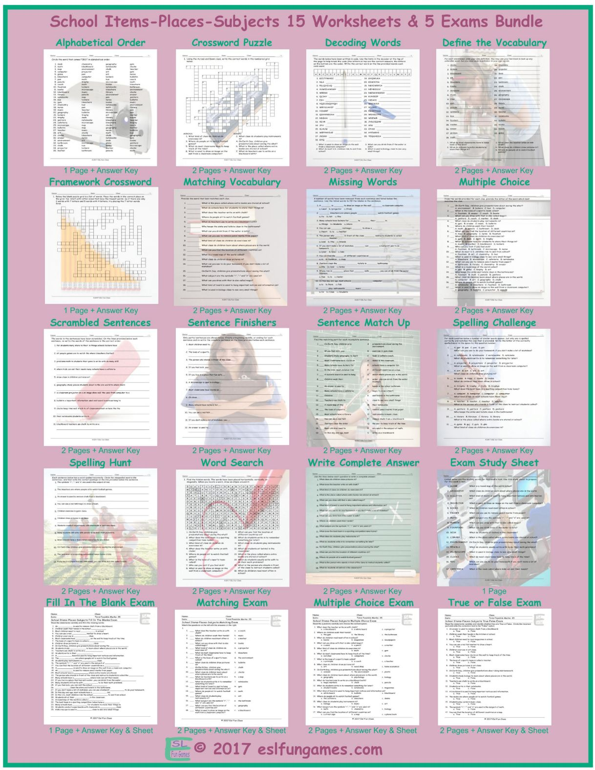 School Items Places Subjects 20 Worksheet And Exam Bundle By Eslfungames
