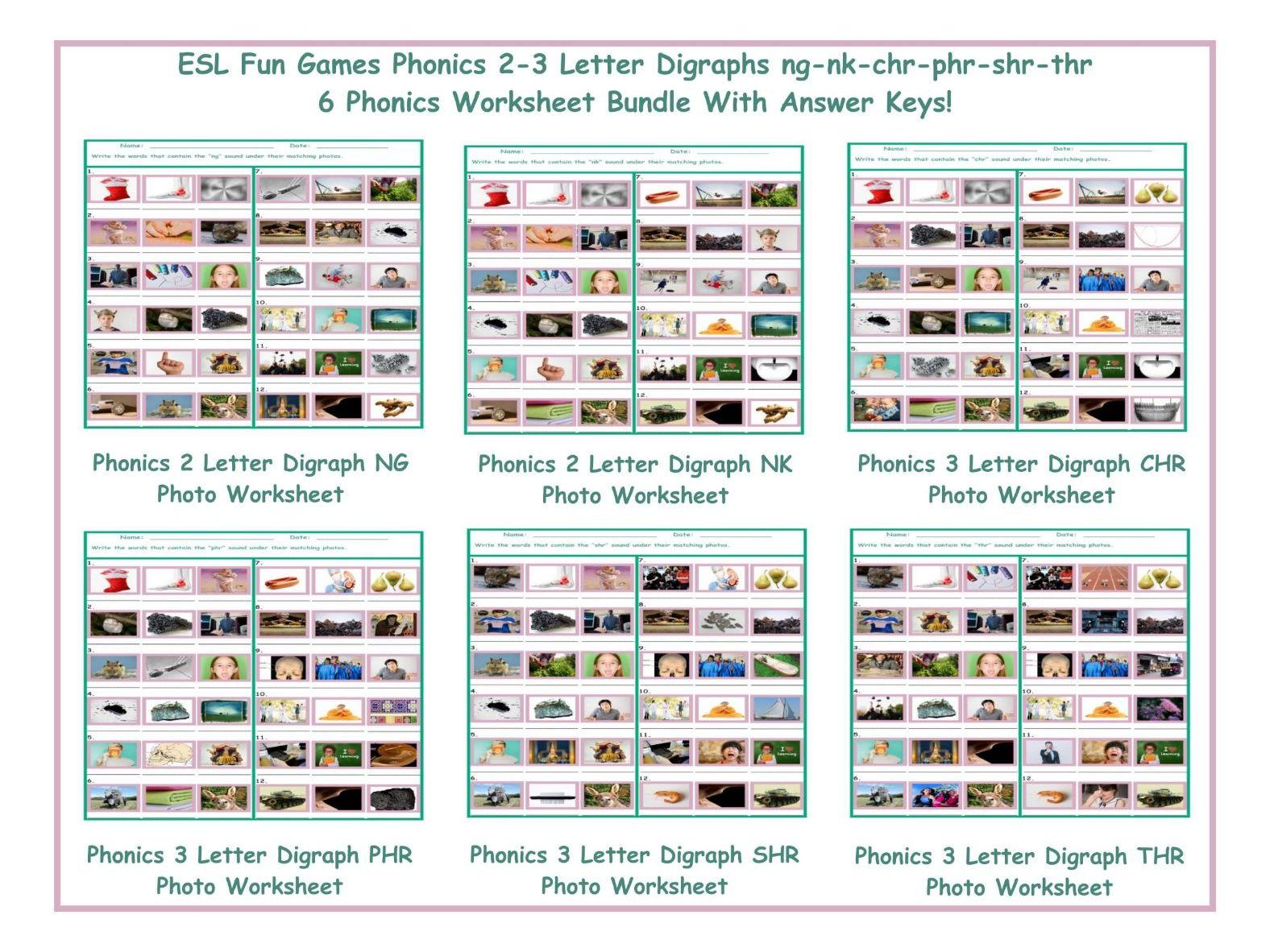 Phonics 2 3 Letter Digraphs Ng Nk Chr Phr Shr Thr