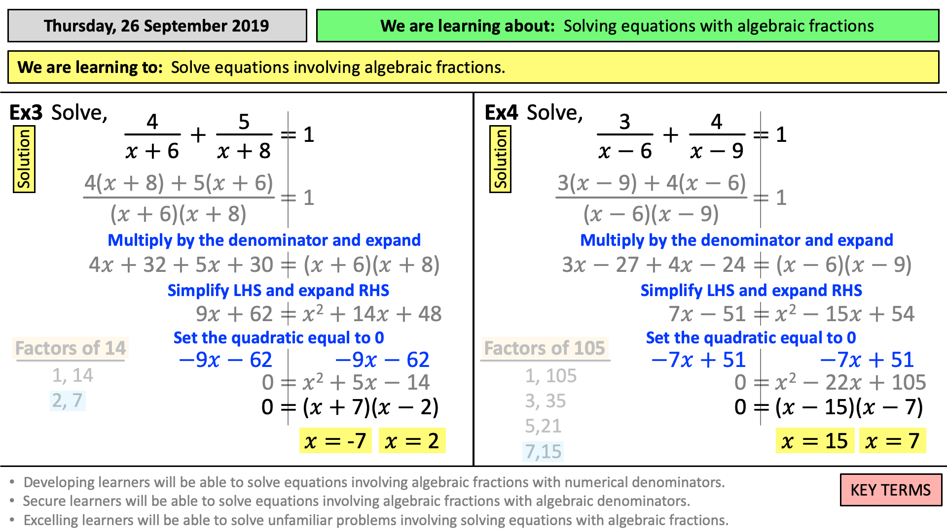 Solving Equations Involving Fractions Tes