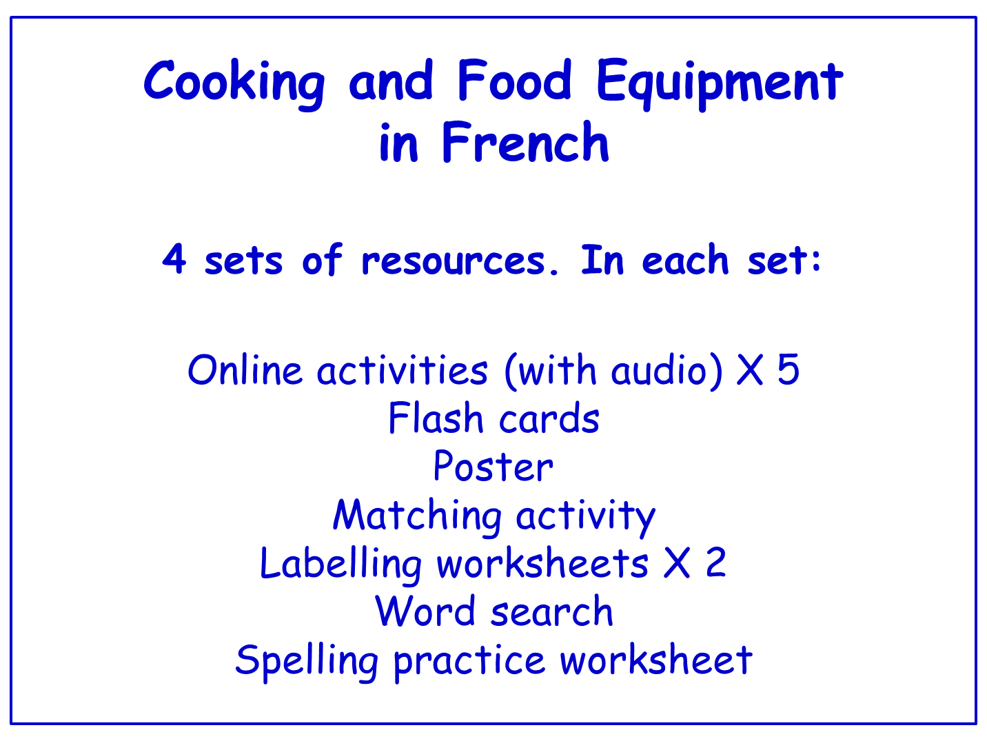Cooking And Food Equipment In French Worksheets Games