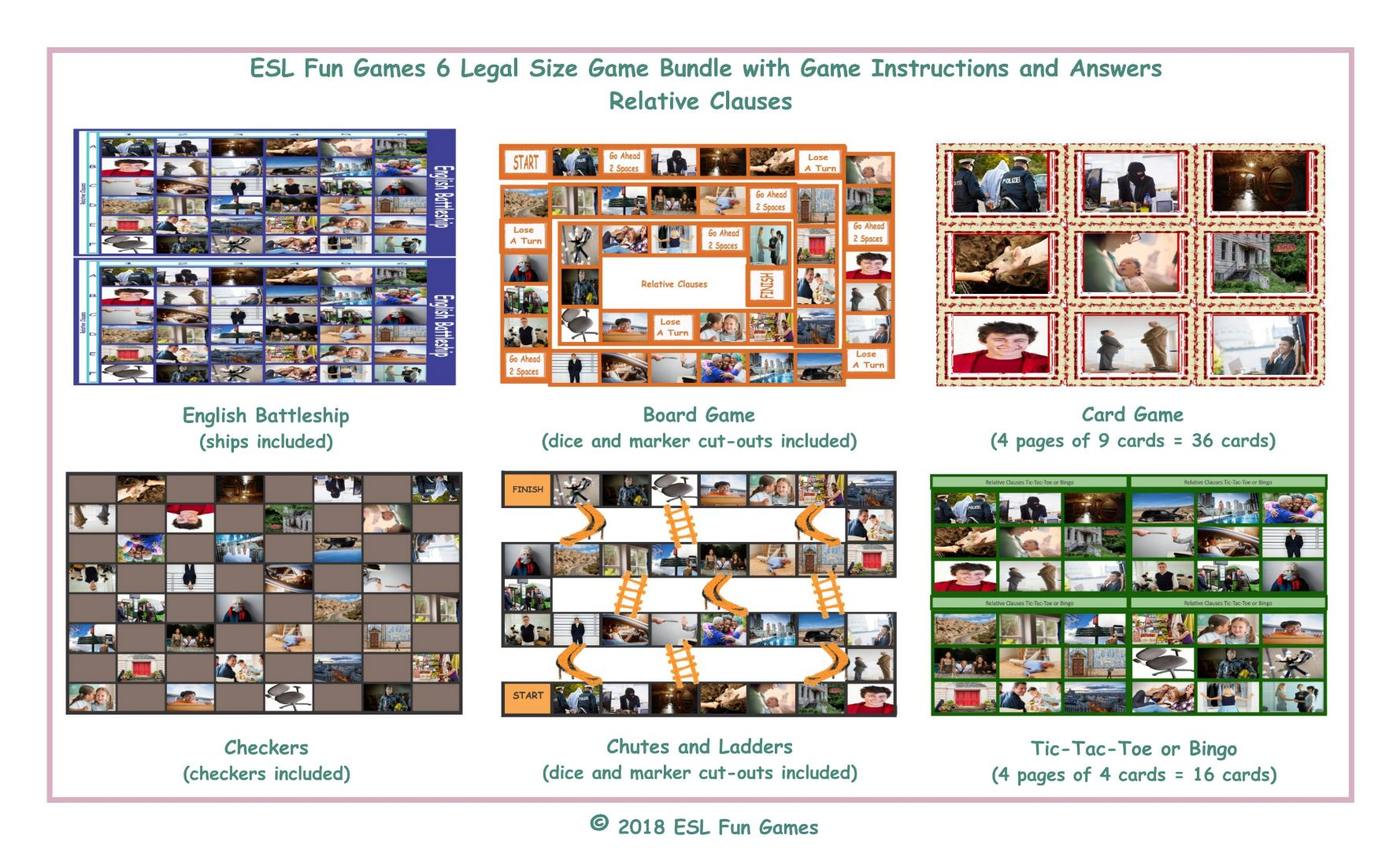 Relative Clauses 6 English Legal Photo Game Bundle