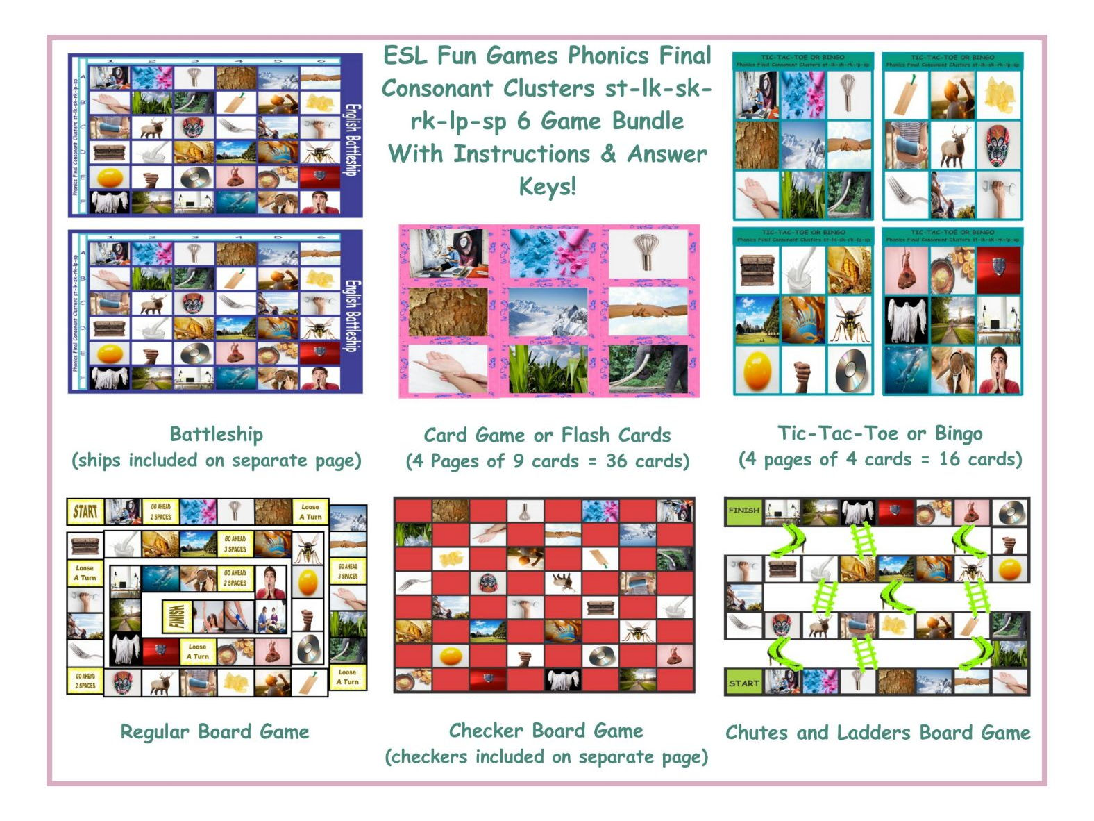 Phonics Final Consonant Clusters St Lk Sk Rk Lp Sp 6 Game