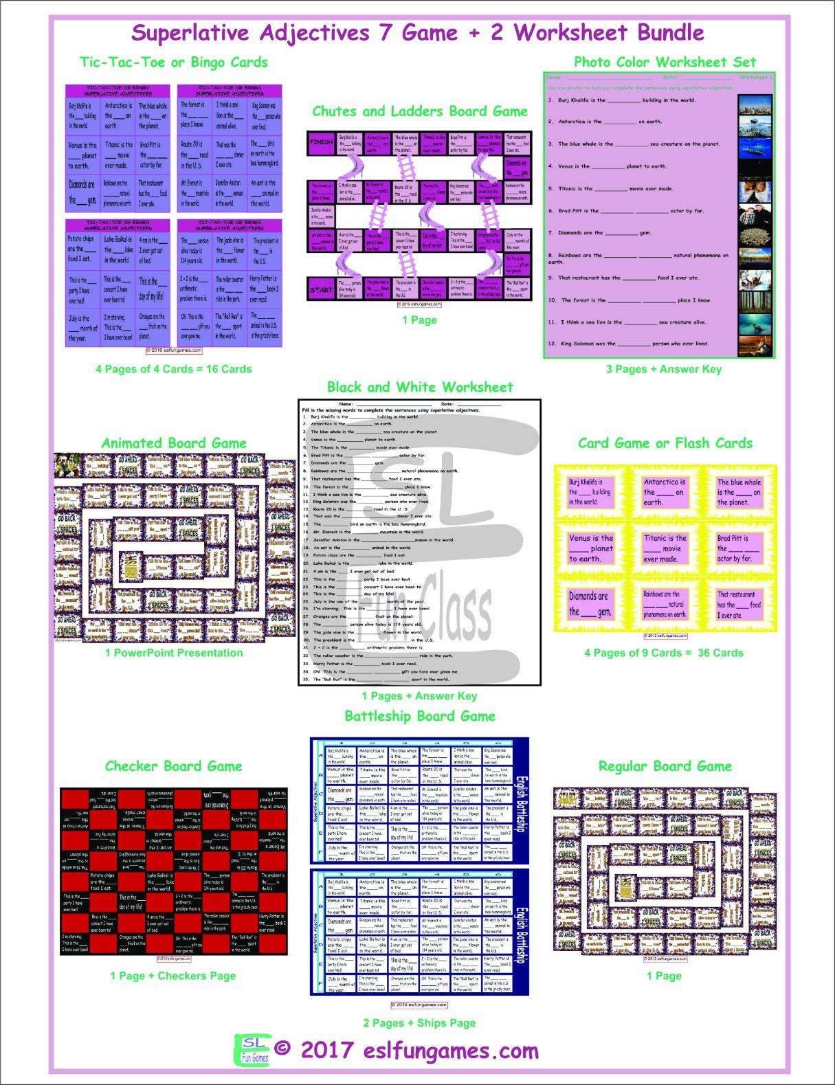Superlative Adjectives 7 Game Plus 2 Worksheet Bundle