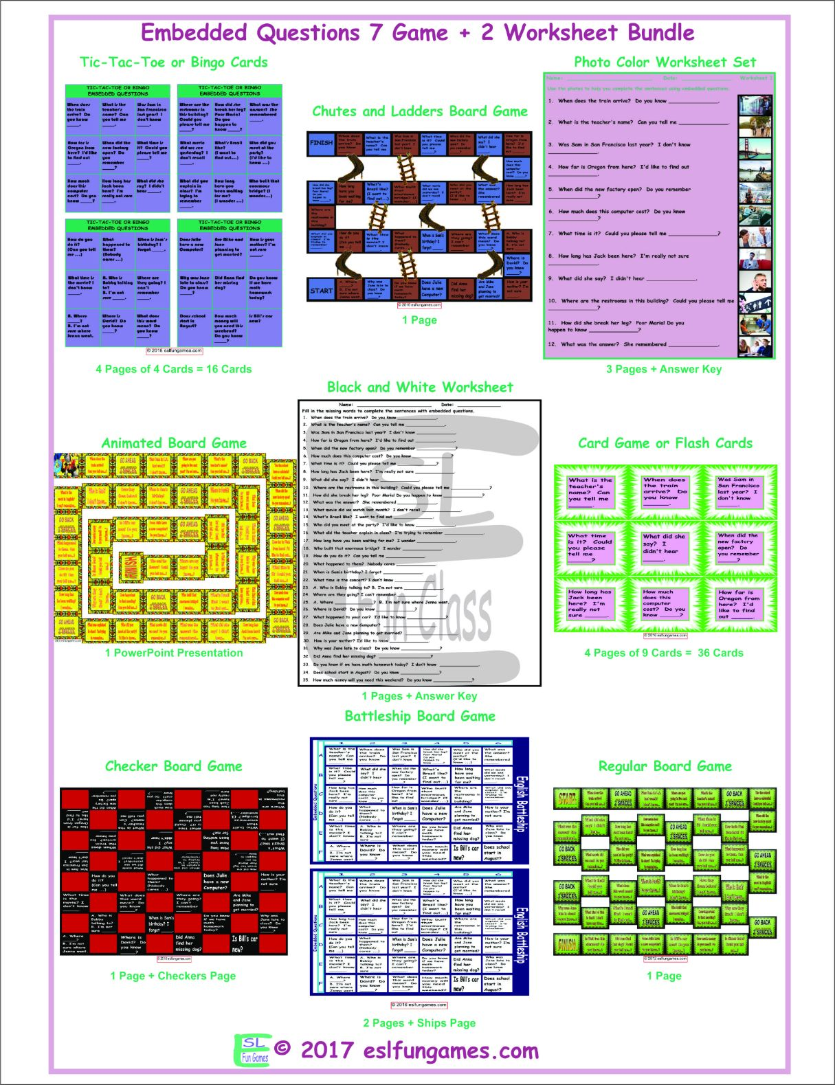 Embedded Questions 7 Game Plus 2 Worksheet Bundle By