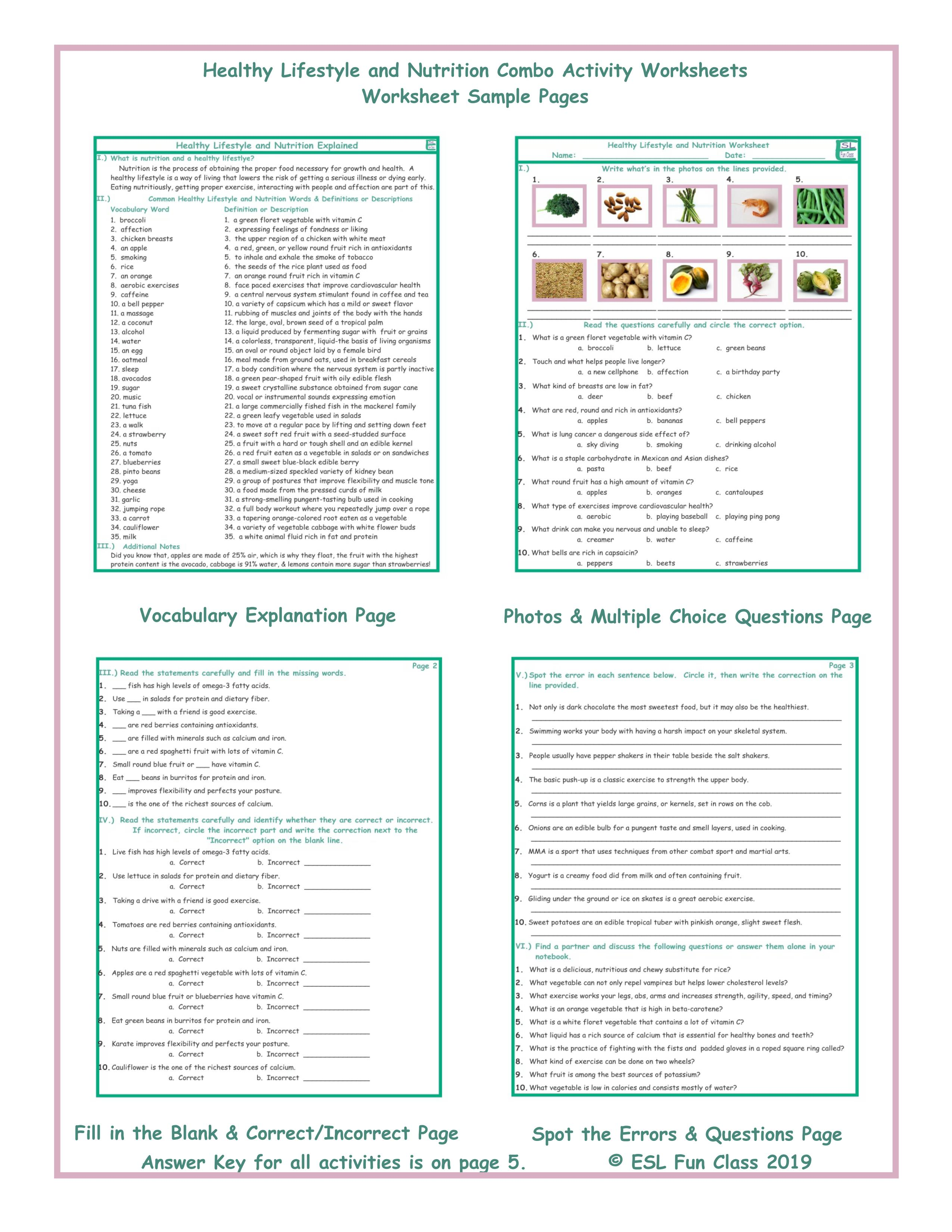 8th Grade Nutrition Worksheets Middle School