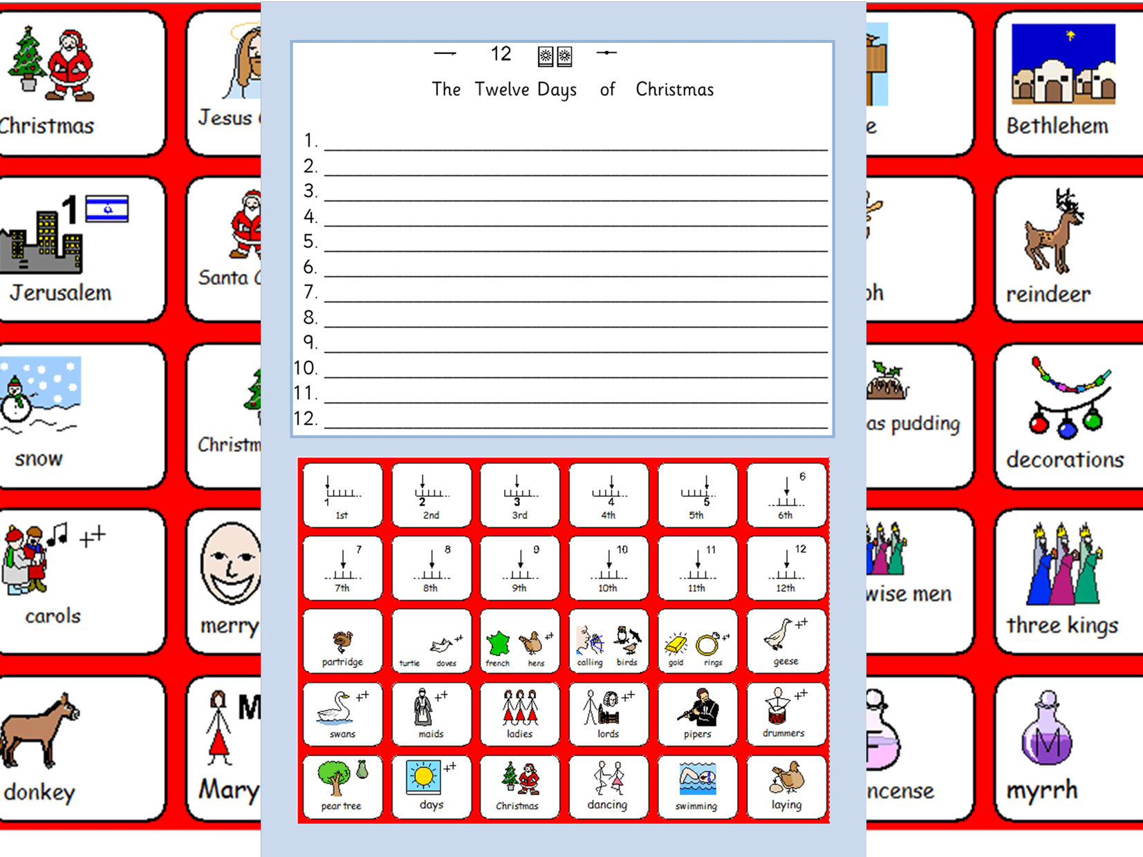 Christmas Symbols The 12 Days Of Christmas Worksheet And