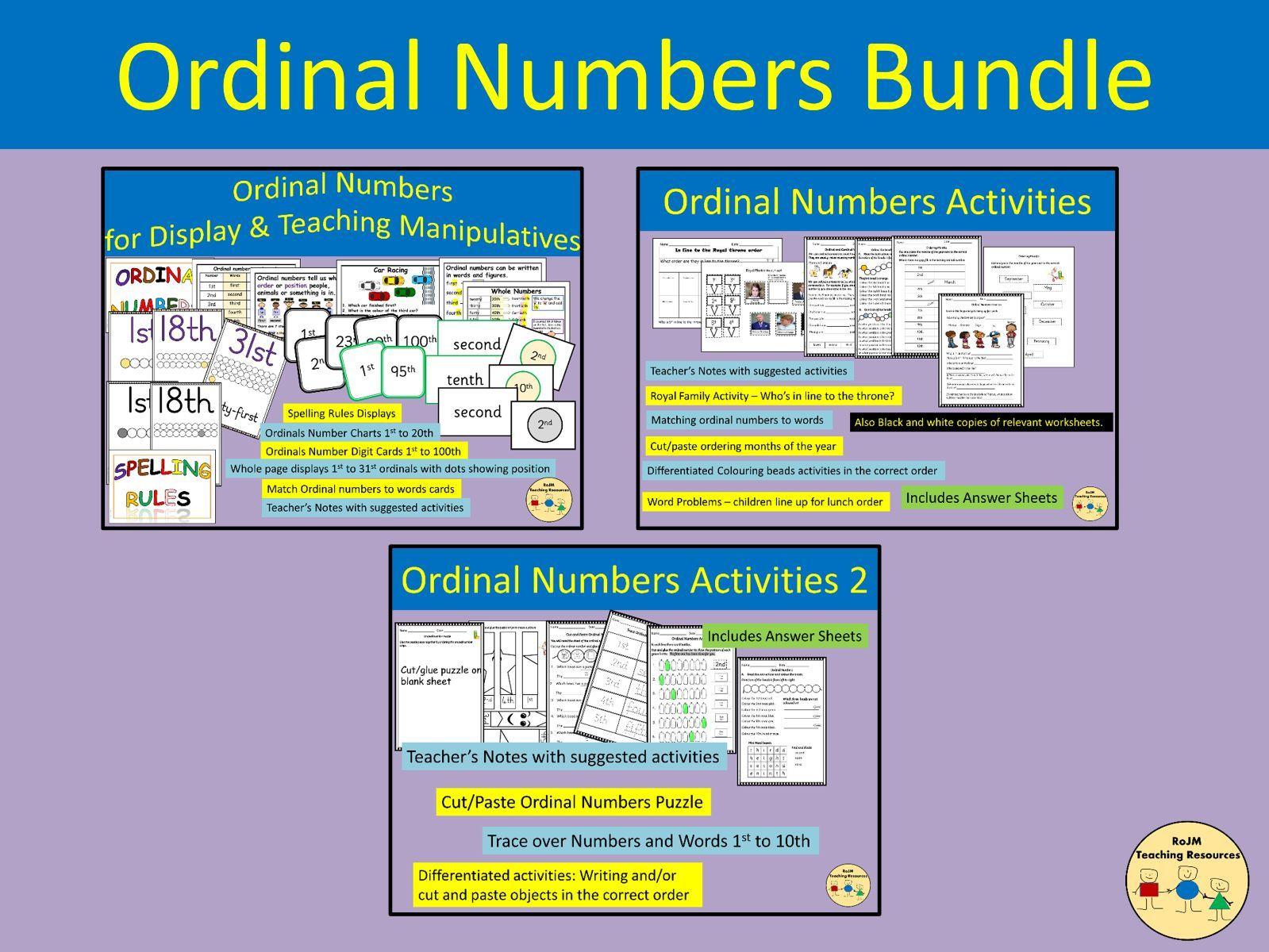 Ordinal Numbers Bundle Classroom Displays Worksheets