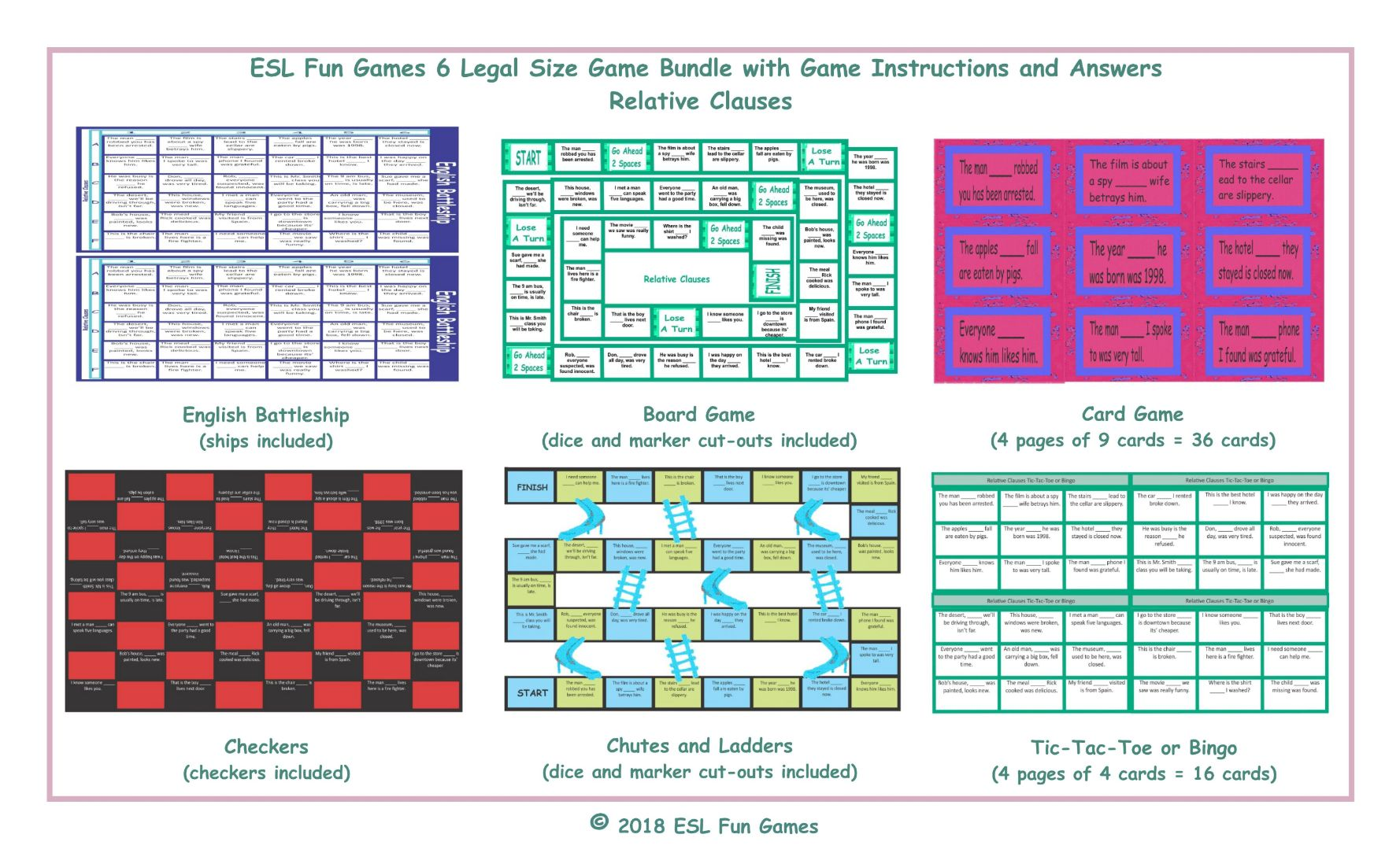 Relative Clauses 6 English Legal Text Game Bundle