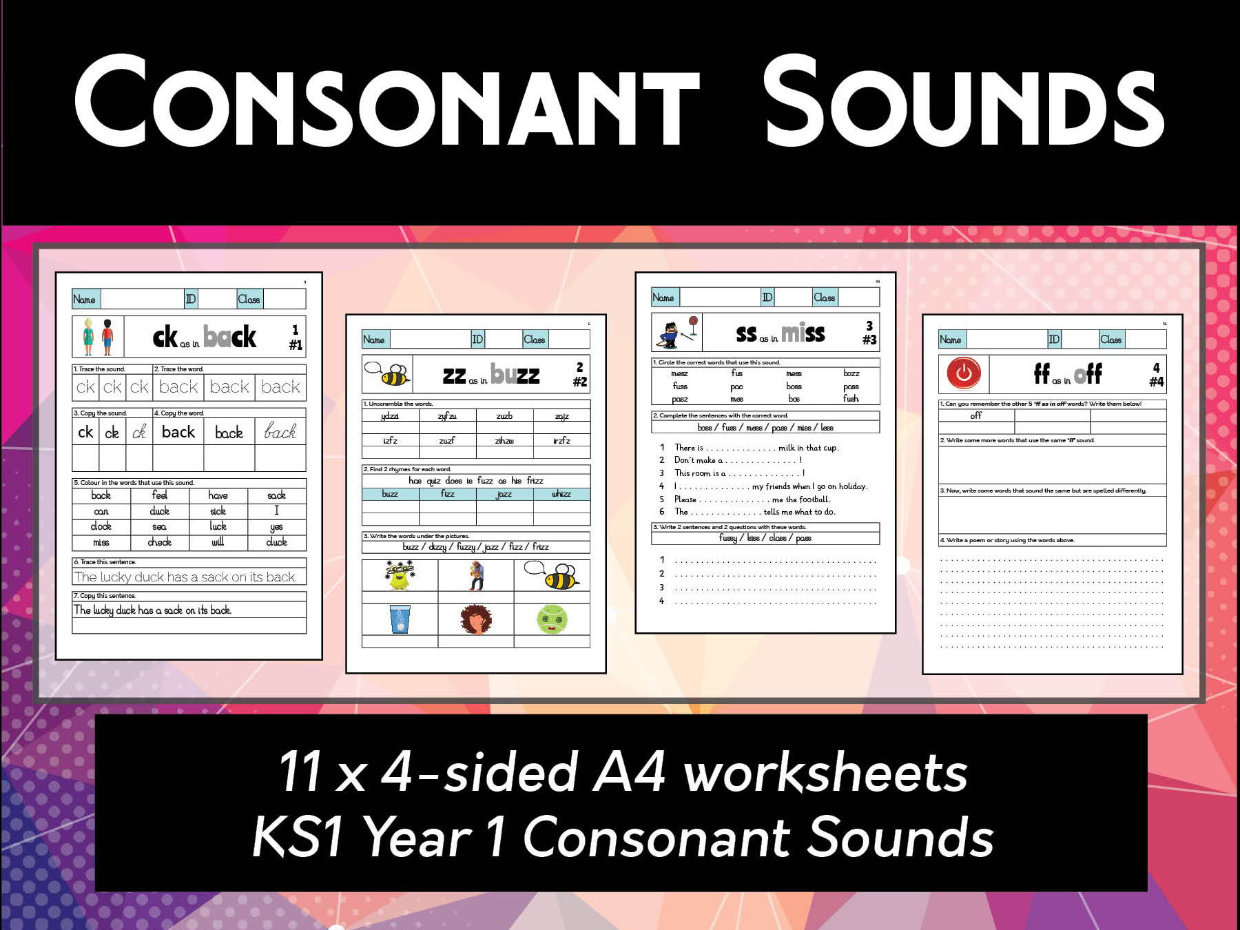 Ks1 Year 1 Consonants Spelling Amp Phonics Worksheets