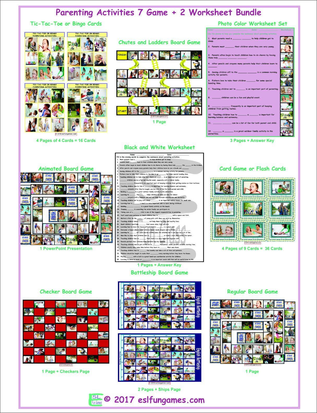 Parenting Activities 7 Game Plus 2 Worksheet Bundle