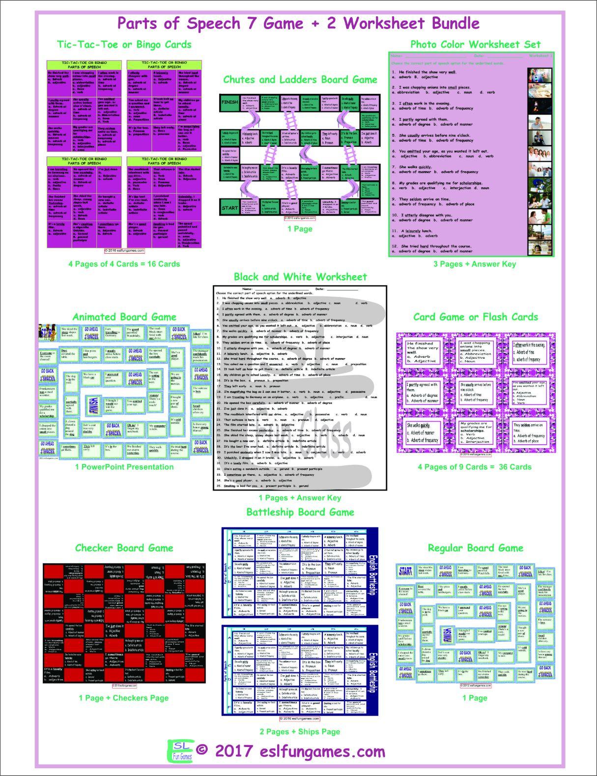 Parts Of Speech 7 Game Plus 2 Worksheet Bundle By