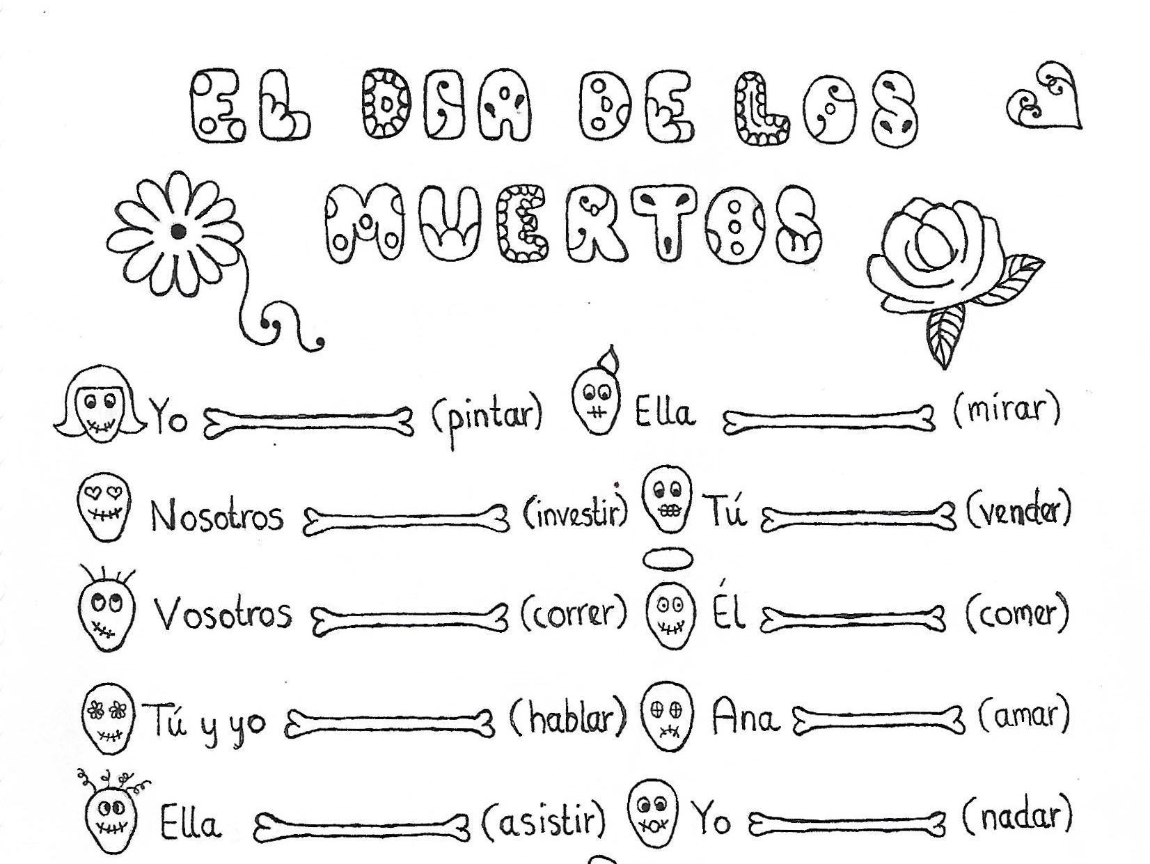Spanish Day Of The Dead Bundle 2 Fun No Prep Worksheets