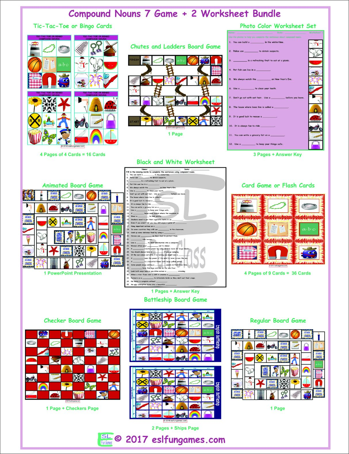 Compound Nouns 7 Game Plus 2 Worksheet Bundle By