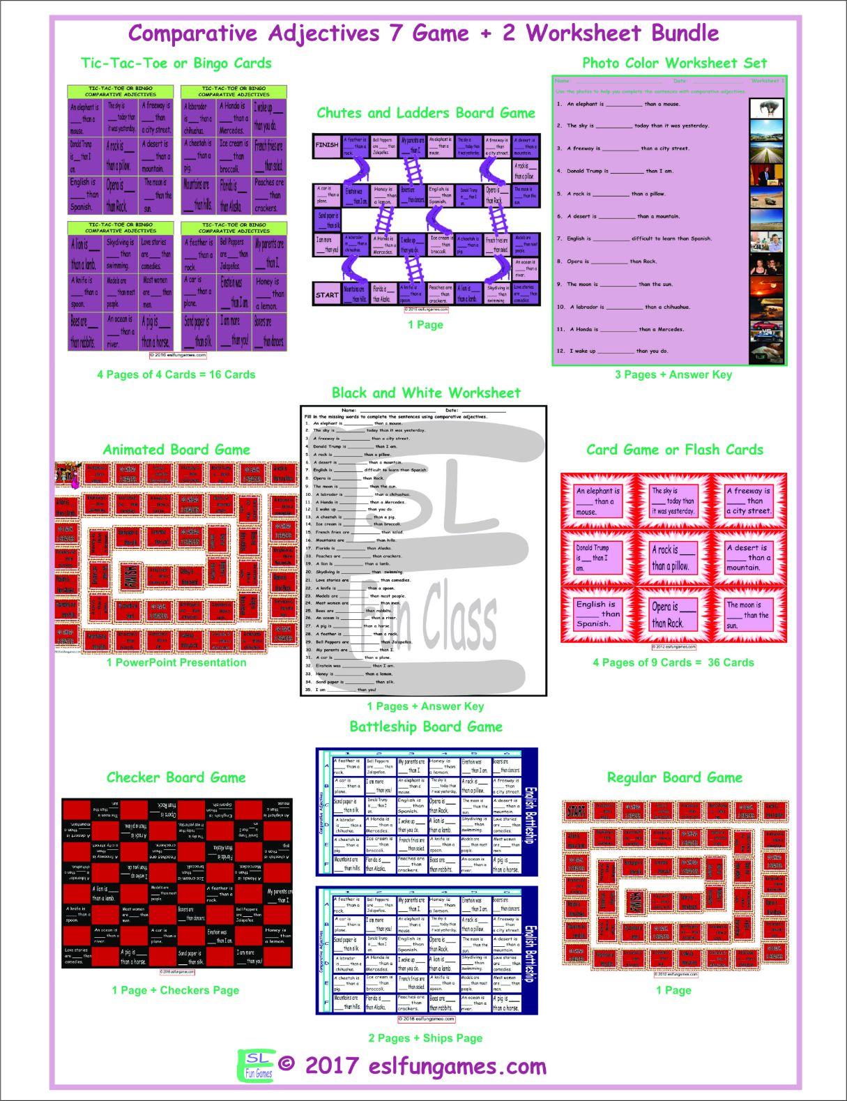 Comparative Adjectives 7 Game Plus 2 Worksheet Bundle By Eslfungames