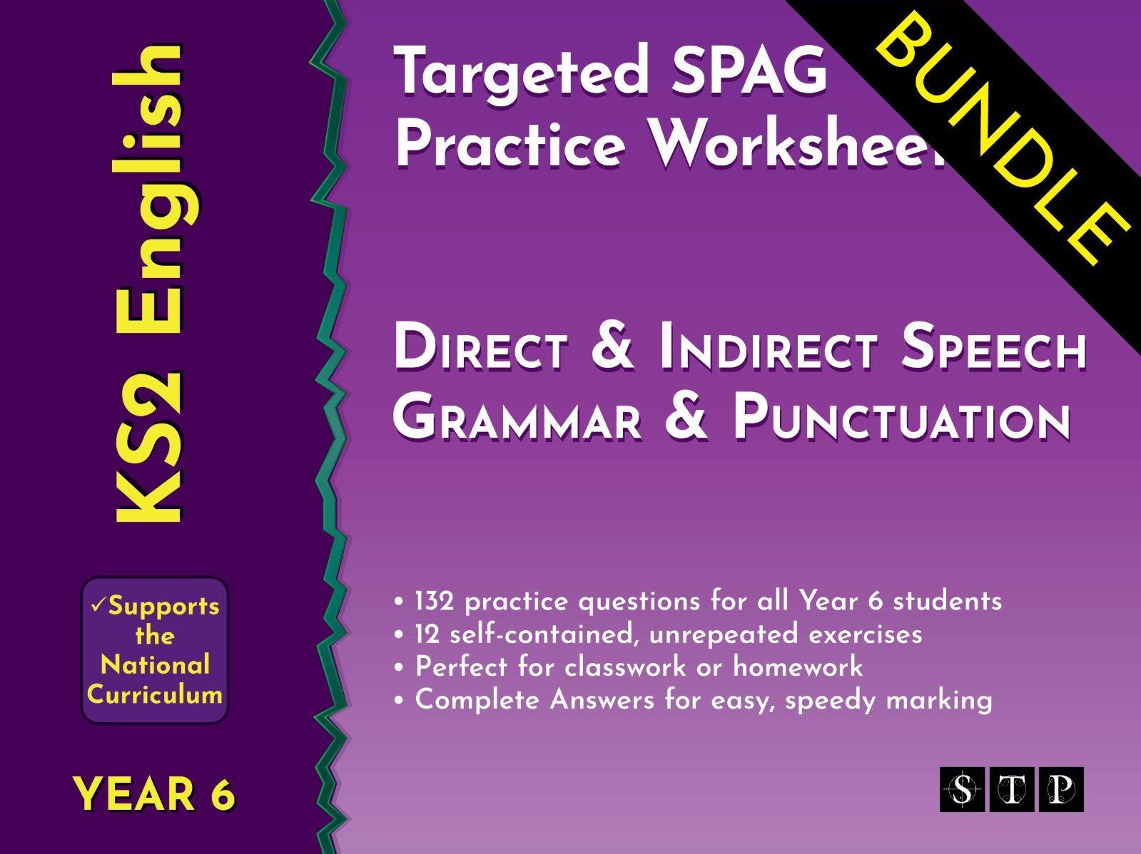Direct Speech Indirect Speech Worksheets Bundle By