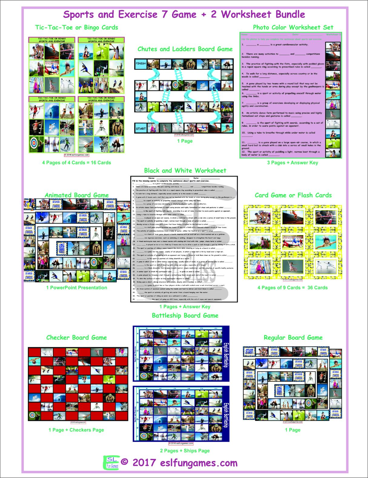 Sports And Exercise 7 Game Plus 2 Worksheet Bundle