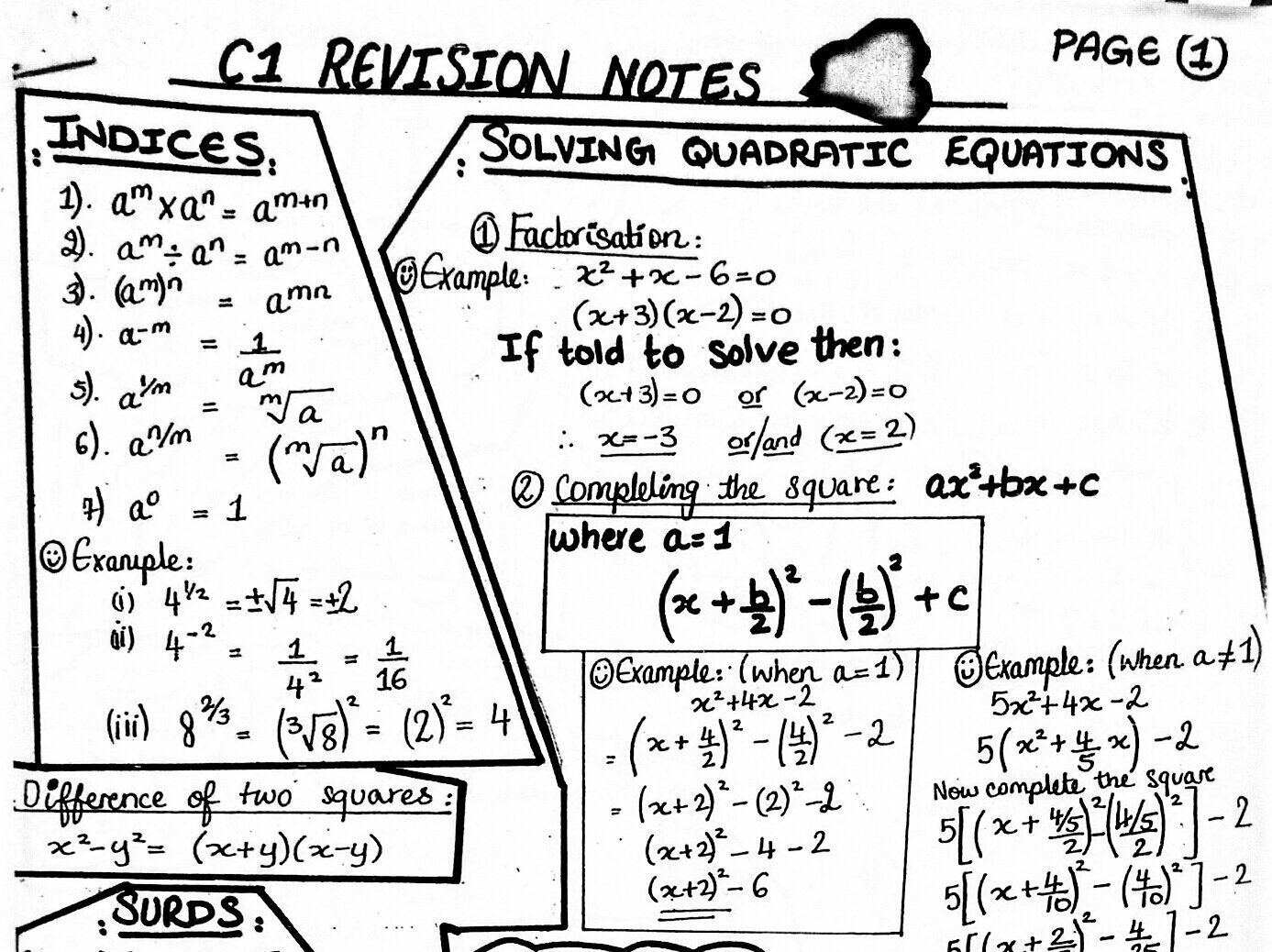 C1 A Level Maths Student Revision Notes