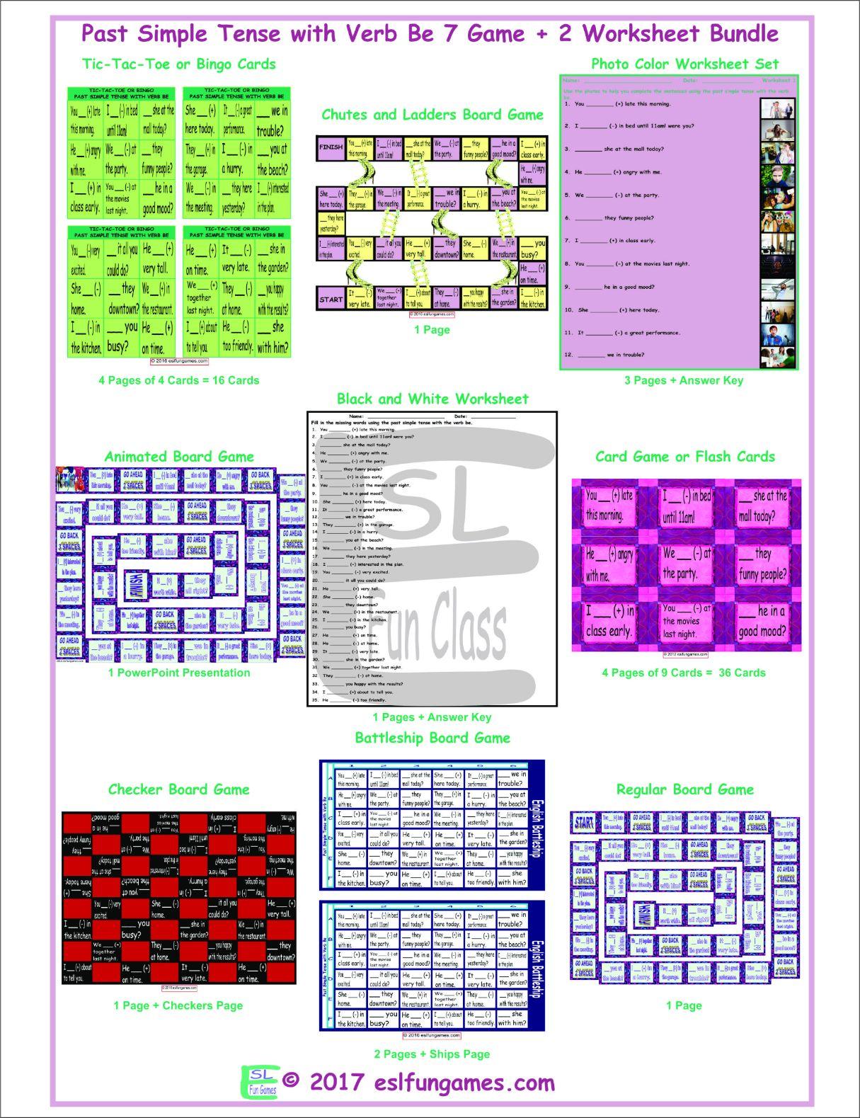 Past Simple Tense With Verb Be 7 Game Plus 2 Worksheet