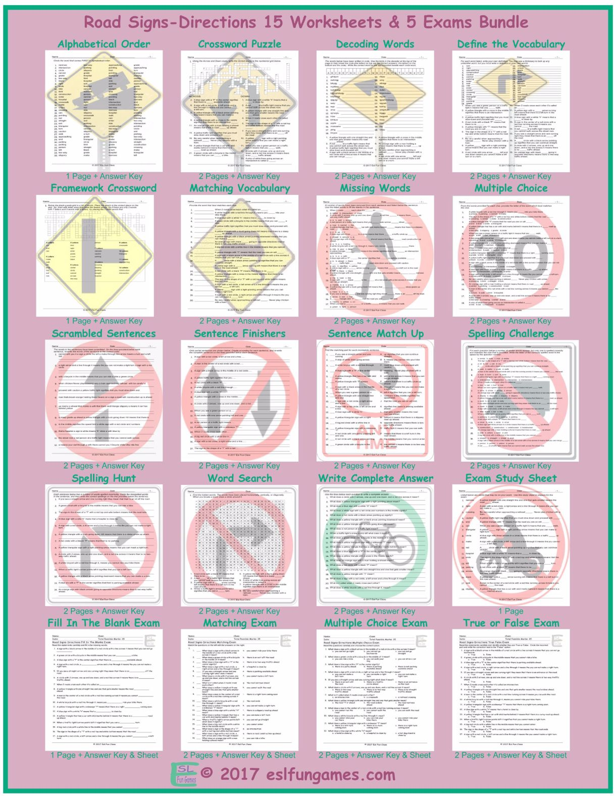 Road Signs Directions 20 Worksheet And Exam Bundle