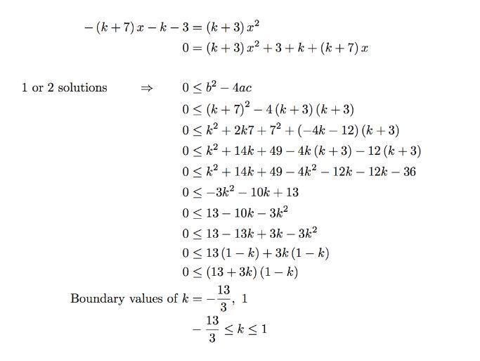 Quadratic Discriminant Leading To Quadratic Inequalities
