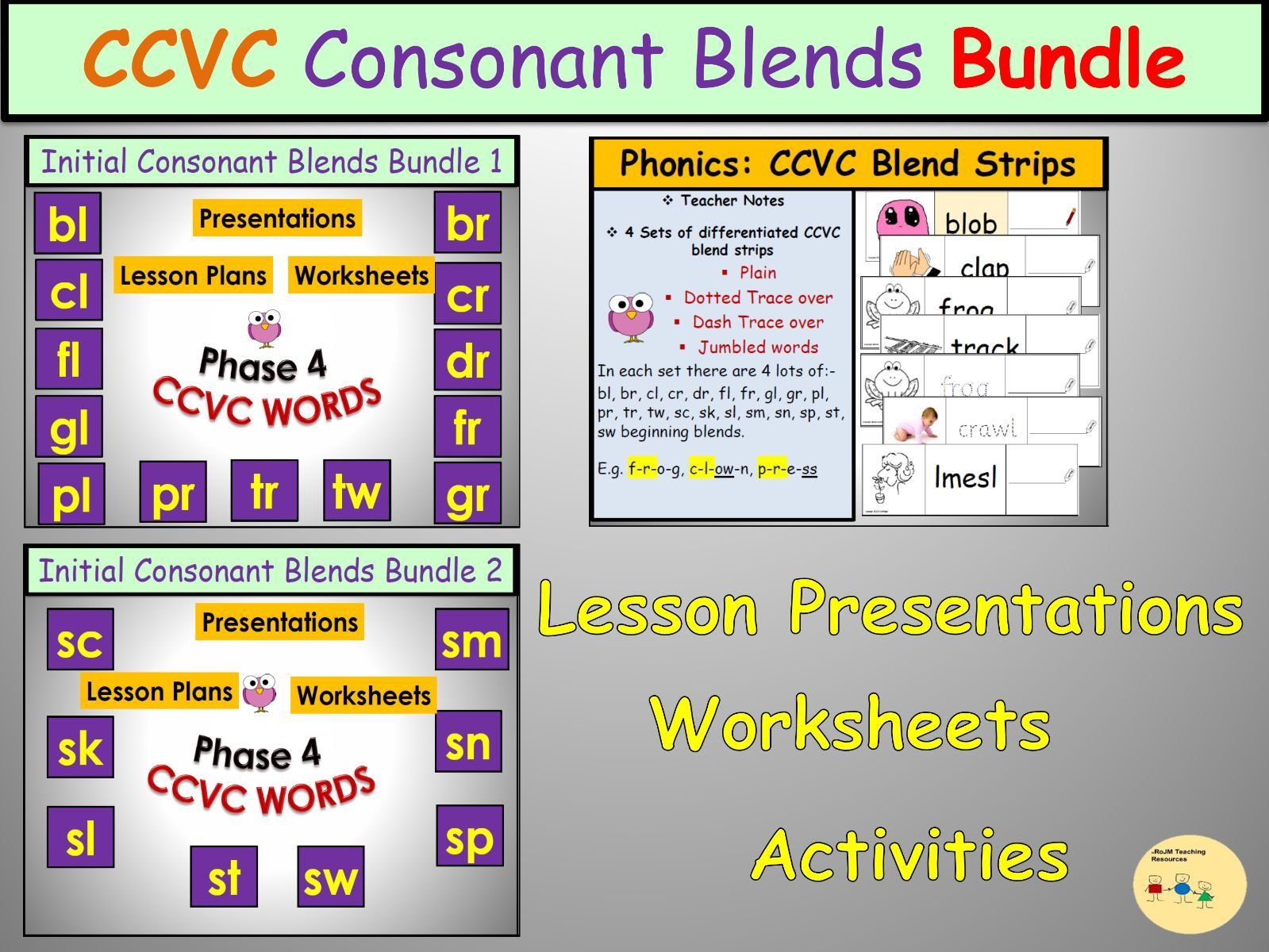 Initial Consonant Blends Combined Bundles 1 And 2 Ccvc