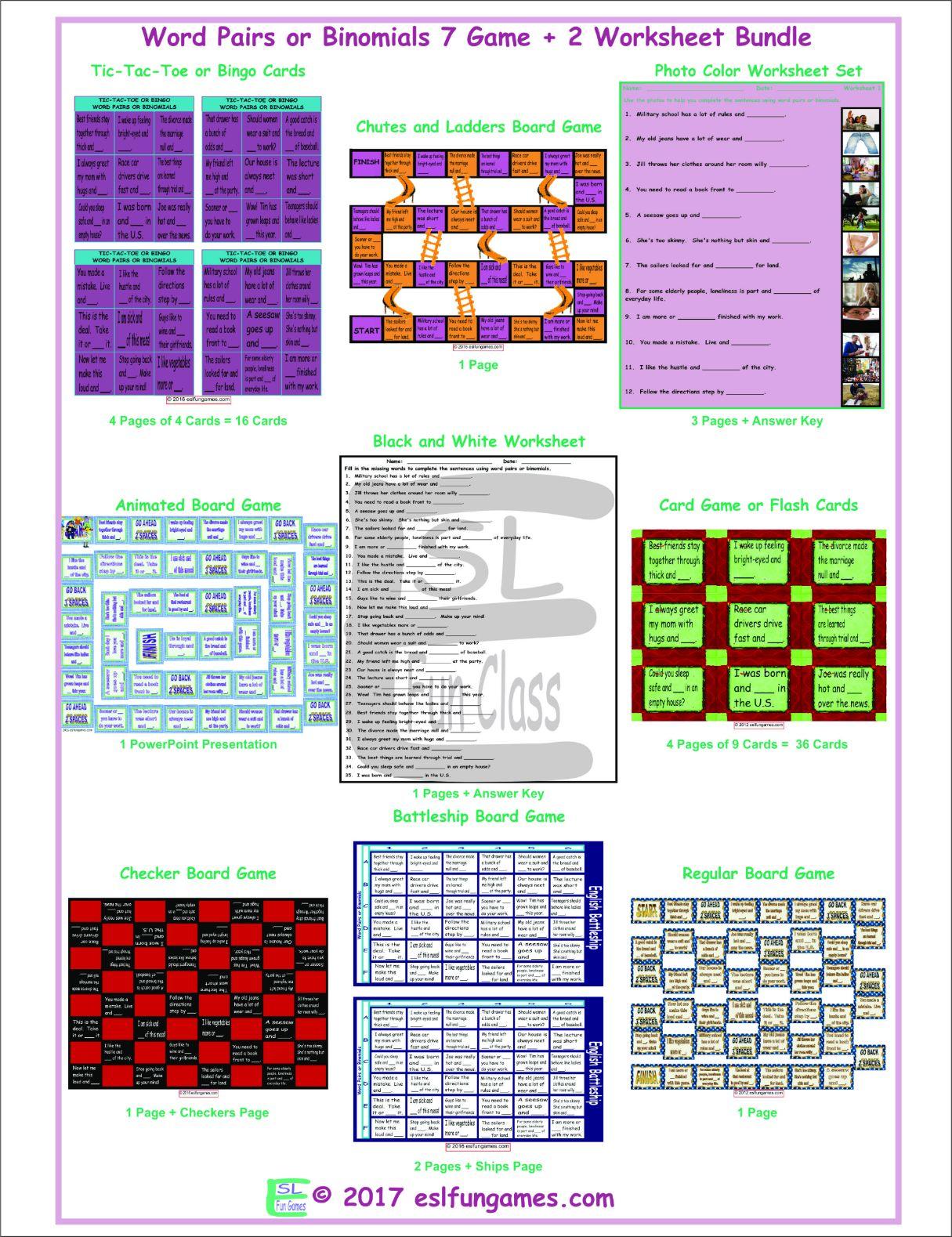 Word Pairs Or Binomials 7 Game Plus 2 Worksheet Bundle By
