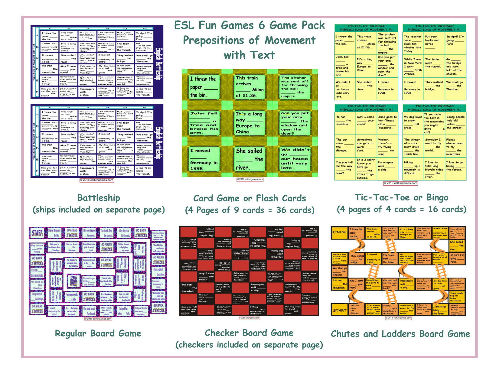 Prepositions Of Movement With Text 6 Board Game Bundle