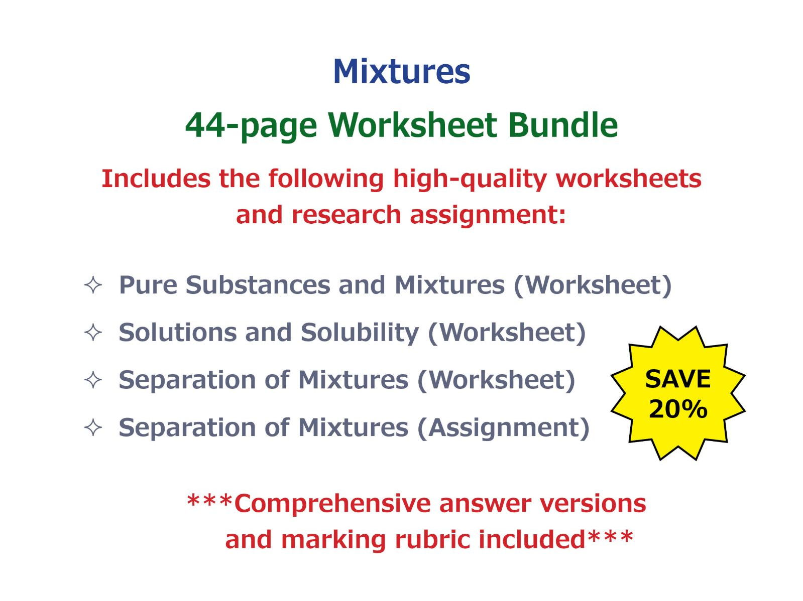 32 Elements Compounds And Mixtures Poem Worksheet Answers