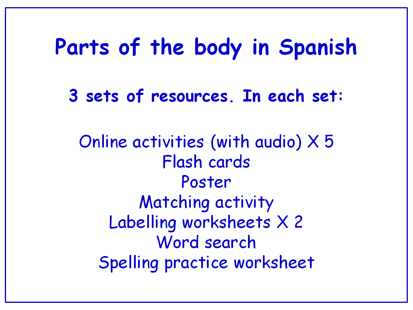Parts Of The Body In Spanish Worksheets Games Activities