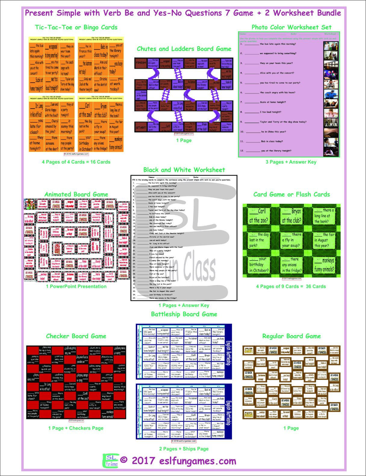 Present Simple With Verb Be And Yes No Questions 7 Game Plus 2 Worksheet Bundle By Eslfungames