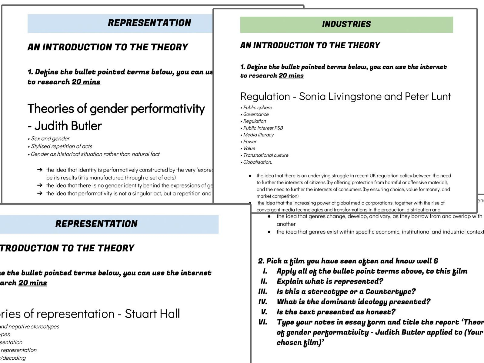 Wjec Media A Level Representation Amp Industry Worksheets