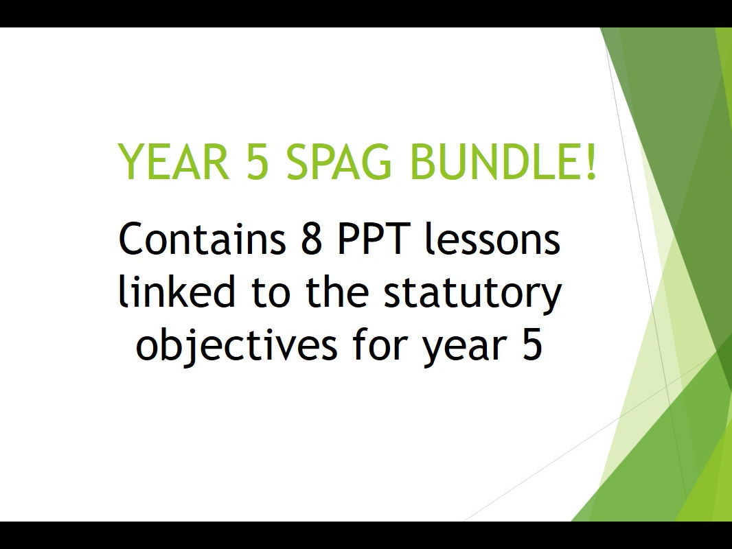 Year 5 Spag Bundle By Karenmoncrieffe