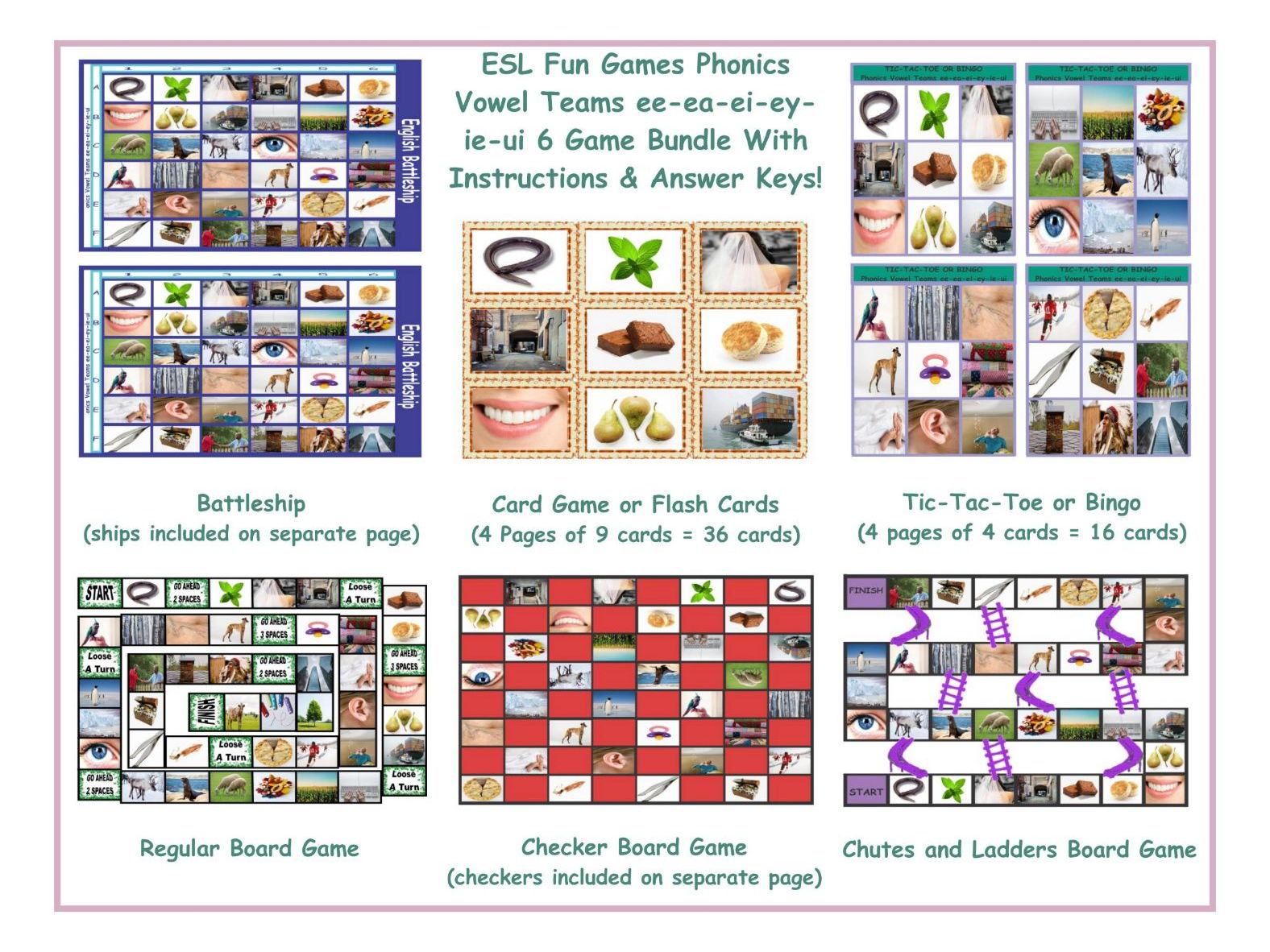 Phonics Vowel Teams Ee Ea Ei Ey Ie Ui 6 Game Bundle By Eslfungames