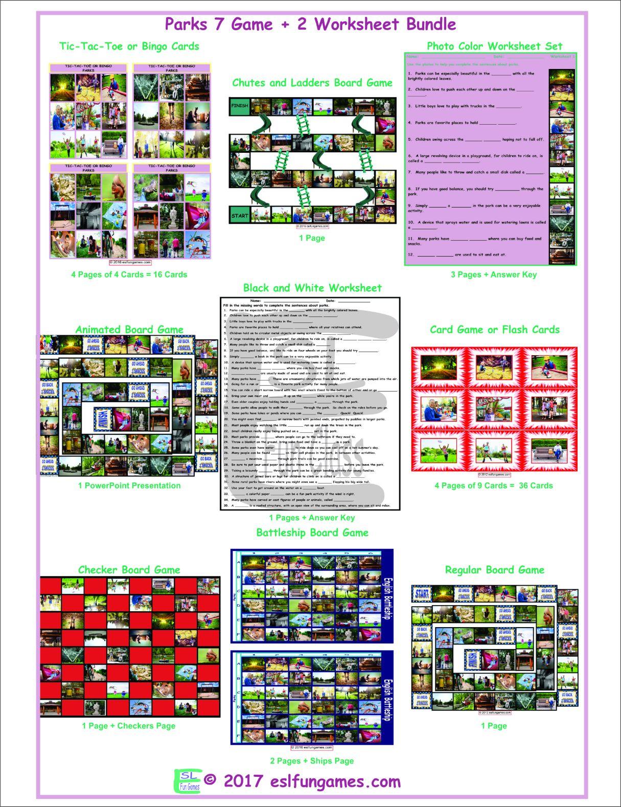 Parks 7 Game Plus 2 Worksheet Bundle