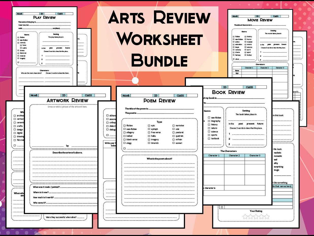 Arts Amp Literature Review Worksheet Bundle