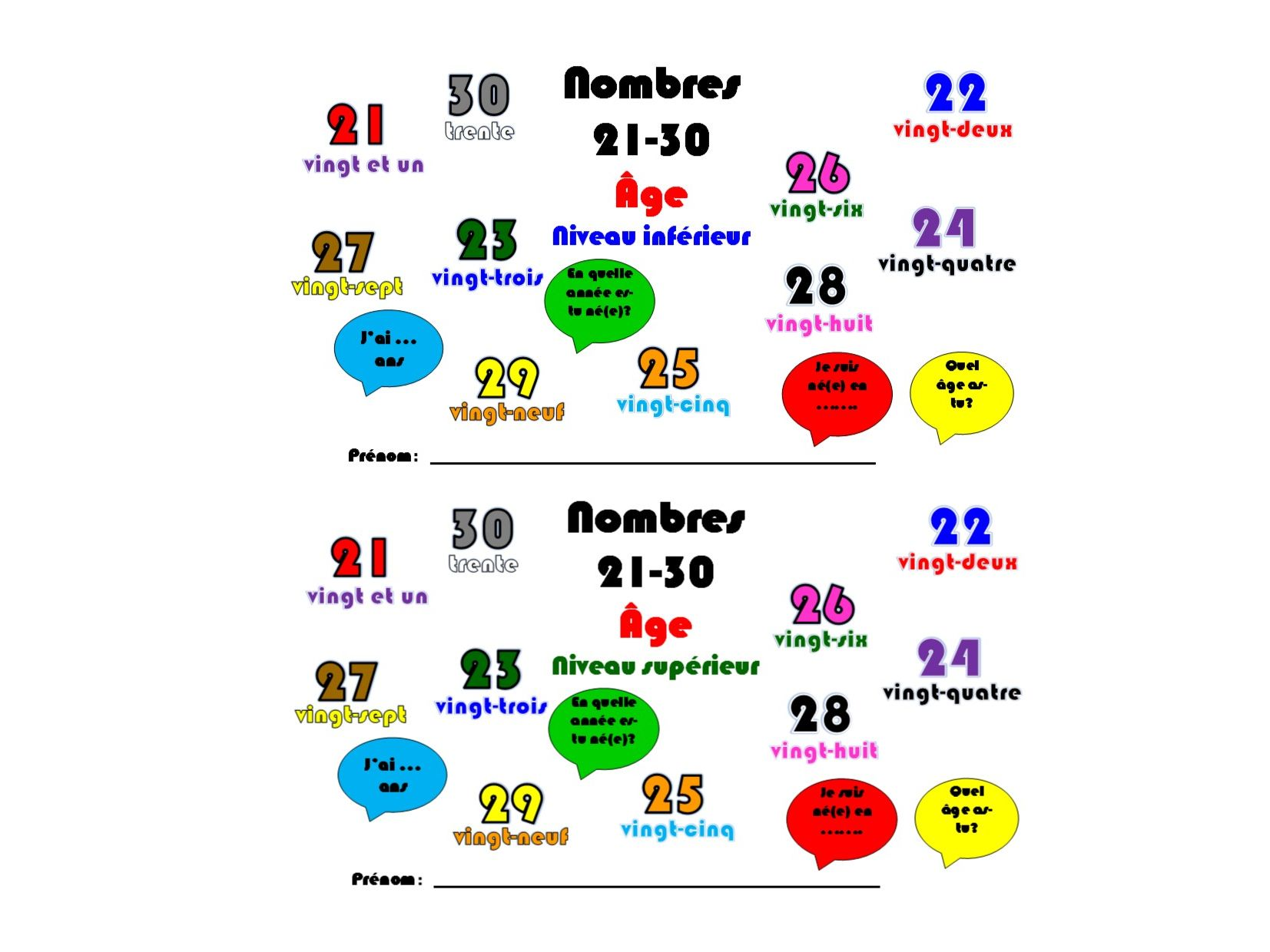 Primary French Numbers 21 30 Age