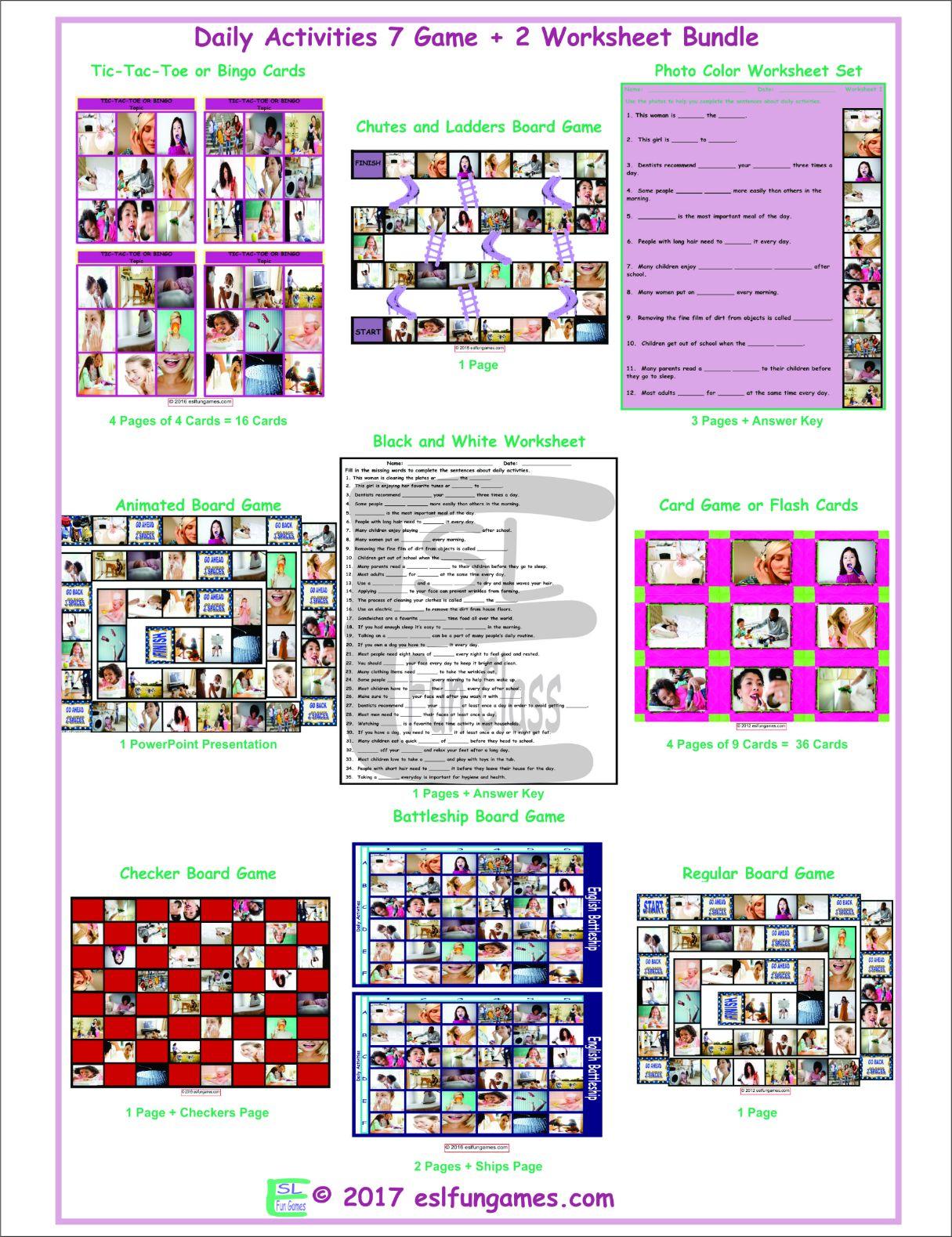Daily Activities 7 Game Plus 2 Worksheet Bundle
