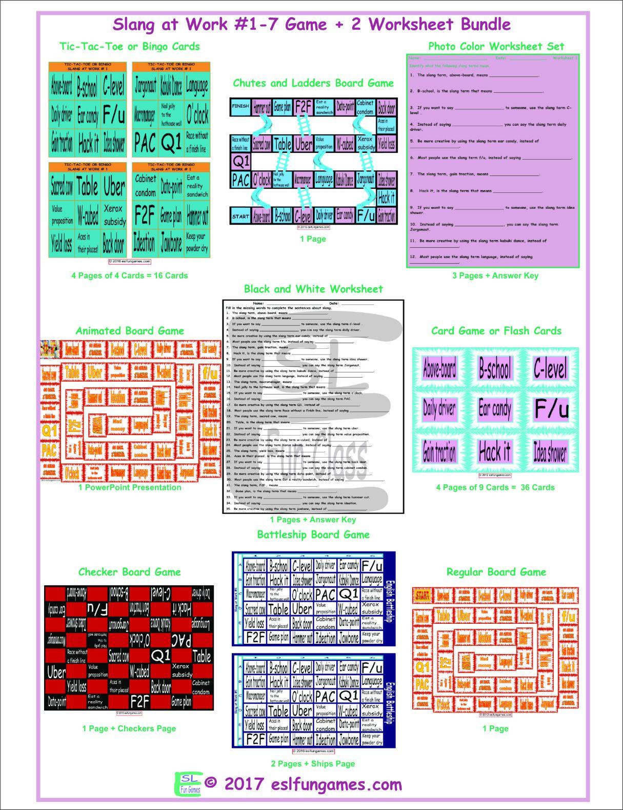Slang At Work 1 7 Game Plus 2 Worksheet Bundle
