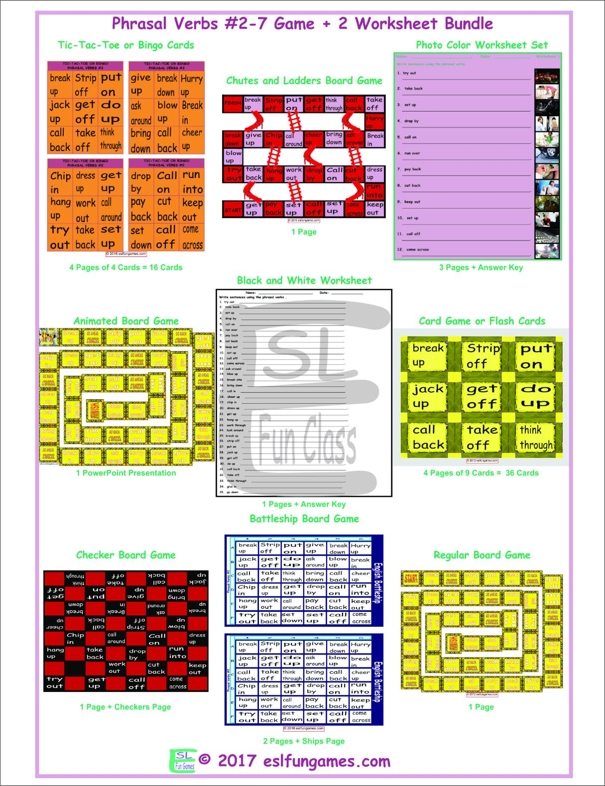 Phrasal Verbs 2 7 Game Plus 2 Worksheet Bundle By