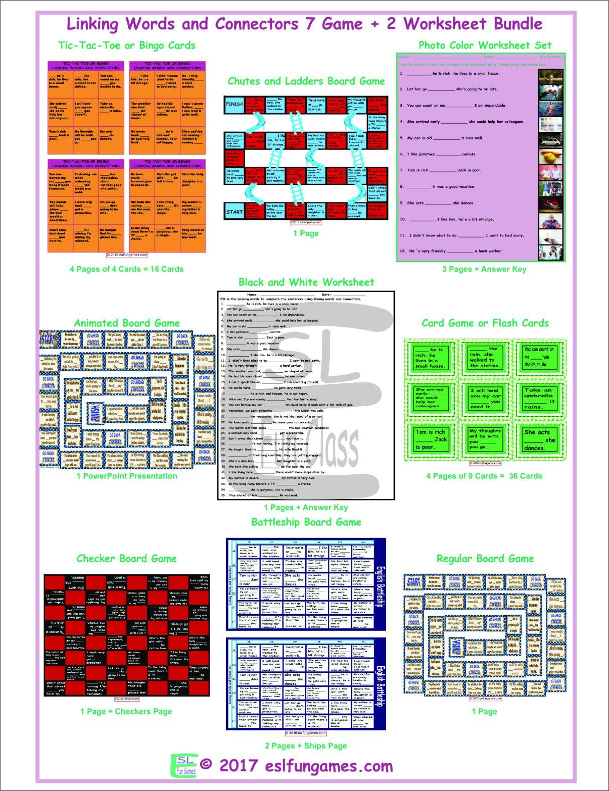 Linking Words And Connectors 7 Game Plus 2 Worksheet Bundle By Eslfungames