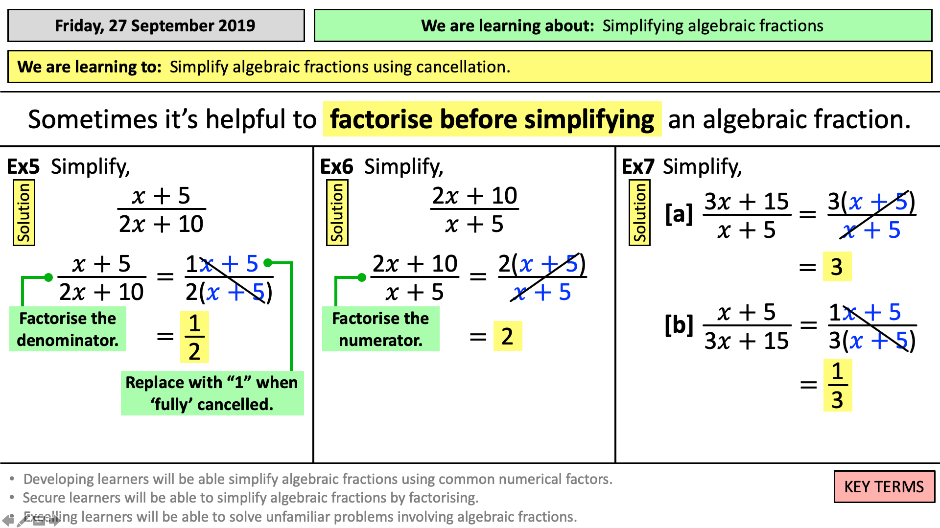 Solve Equations With Algebraic Fractions Tes