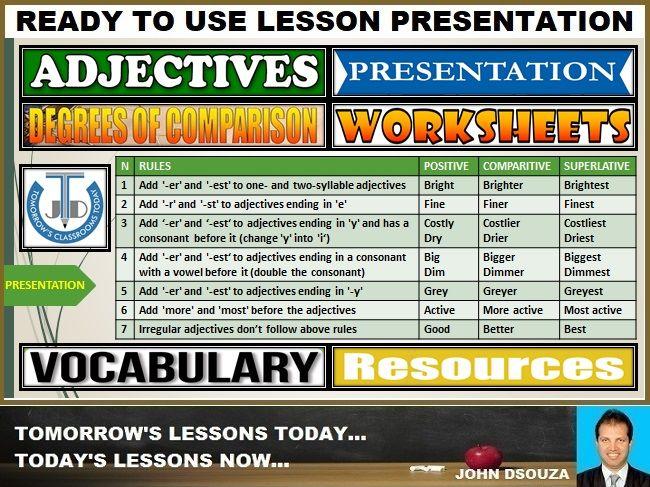 Adjectives List Comparison Degrees