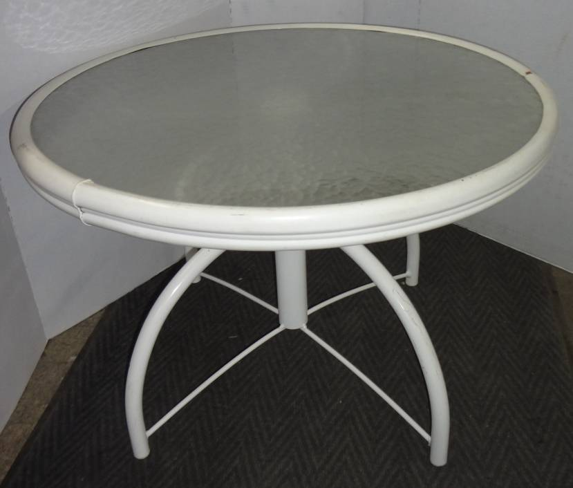 top patio table with white metal base